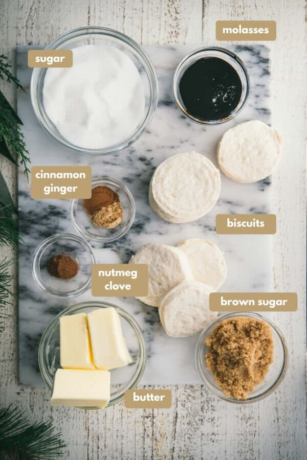 labeled ingredients for gingerbread monkey bread