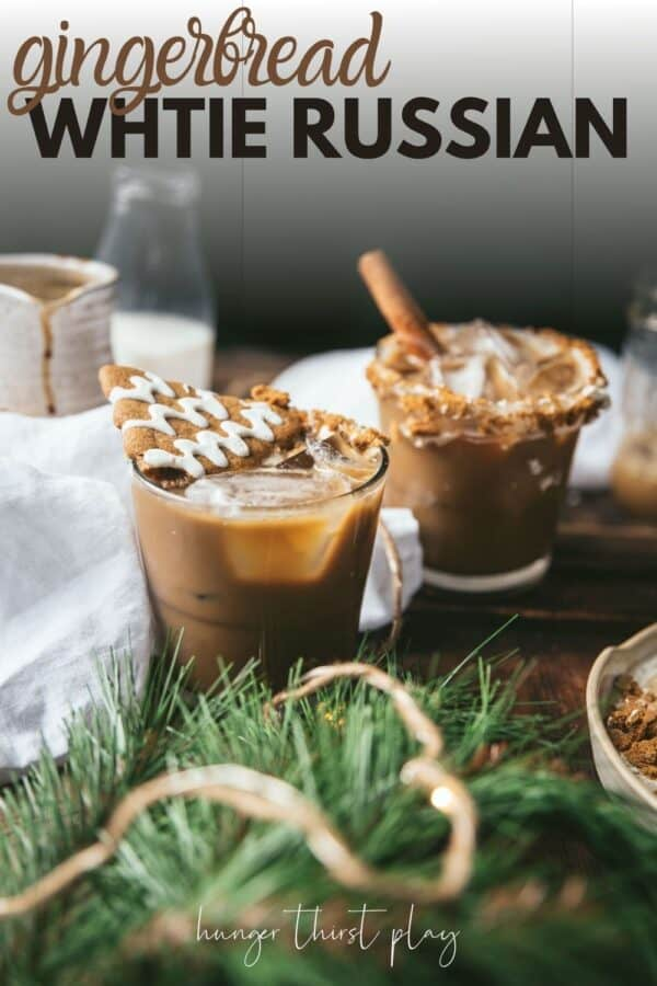 side angle gingerbread cocktails with gingerbread garnishes