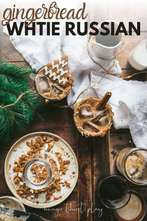 overhead photos of white russians with gingerbread syrup