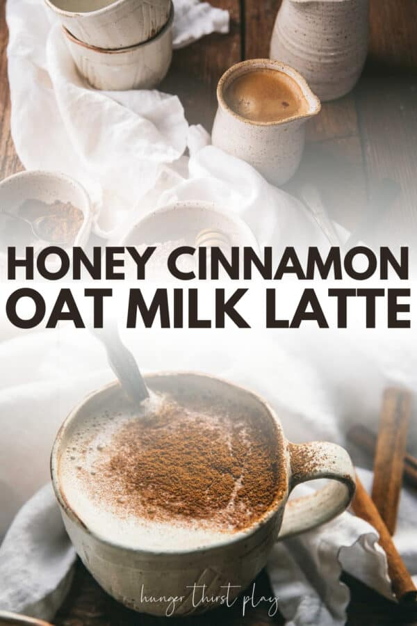 collage of oat milk latte pictures