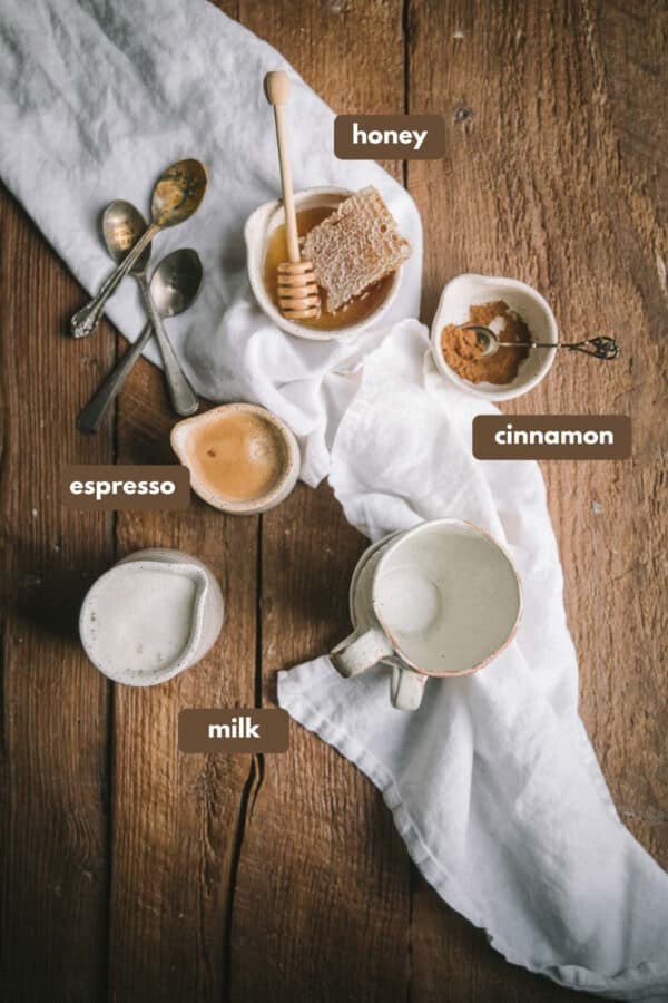 labeled ingredients for honey cinnamon oat milk lattes
