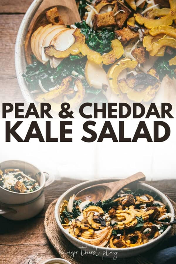 collage of pear and cheddar kale salad photos