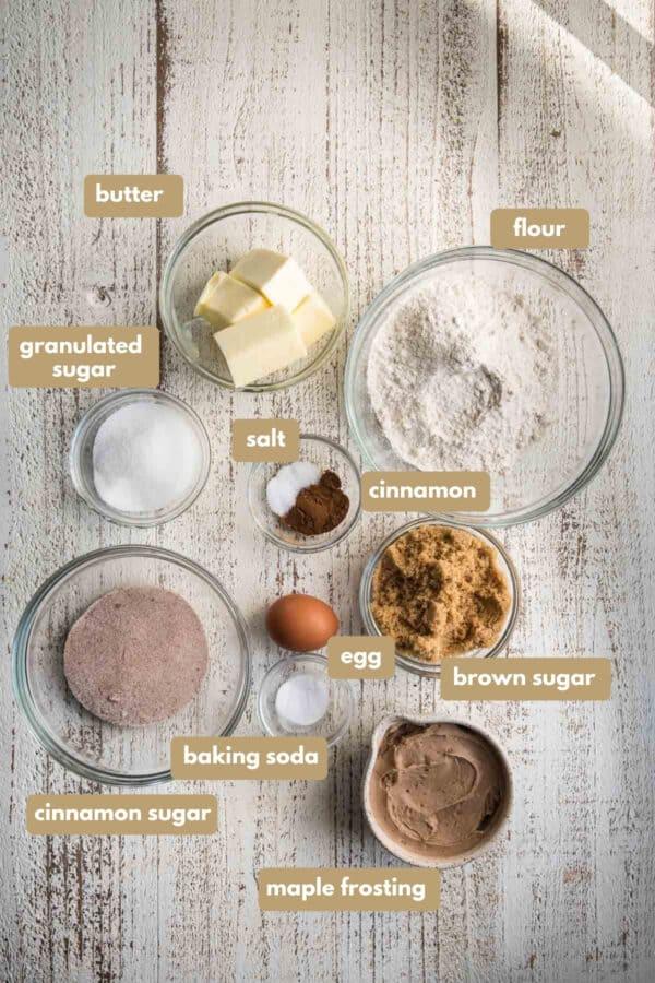 labeled snickerdoodle cookie ingredients