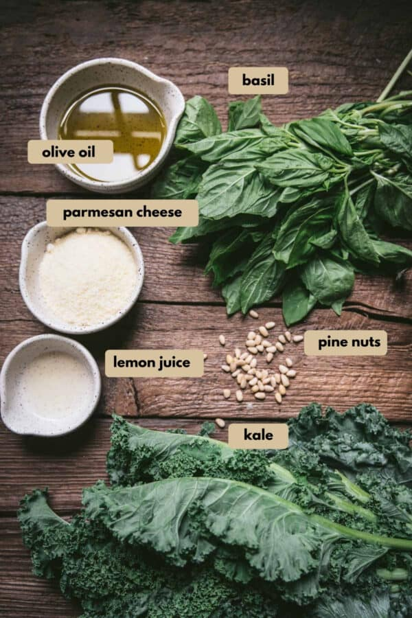 labeled ingredients for kale pesto