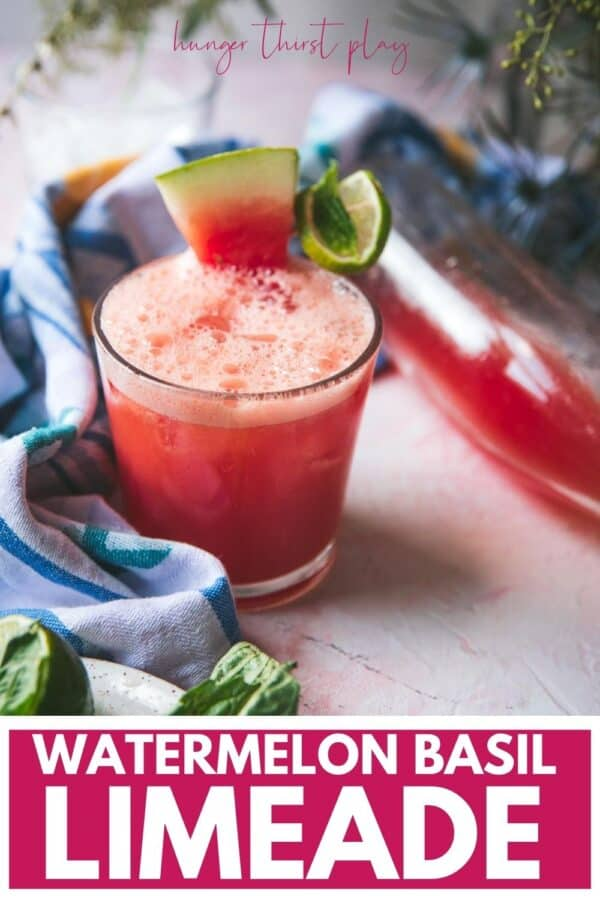slice of watermelon on a glass of watermelon limeade