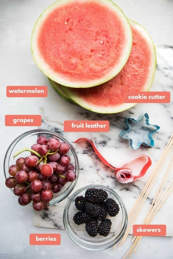 labeled ingredients for making magic fairy fruit skewers