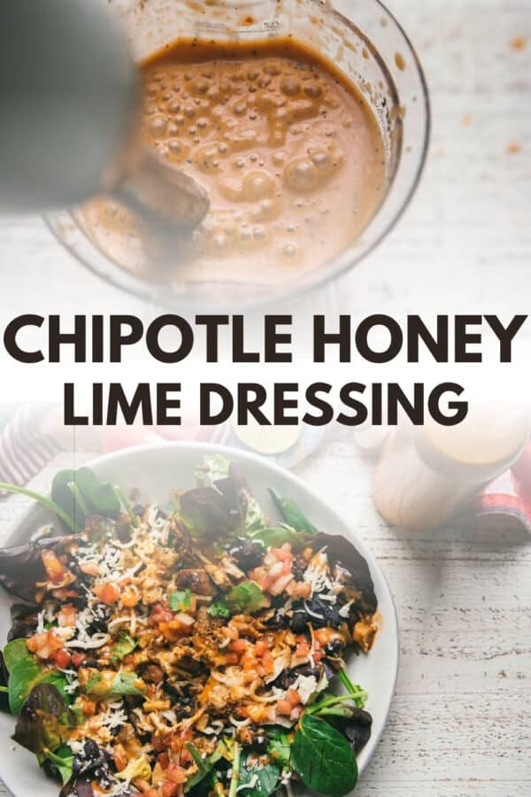 collage of chipotle dressing photos