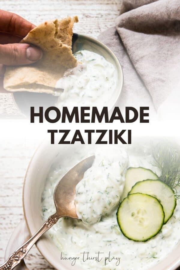 collage of tzatziki photos