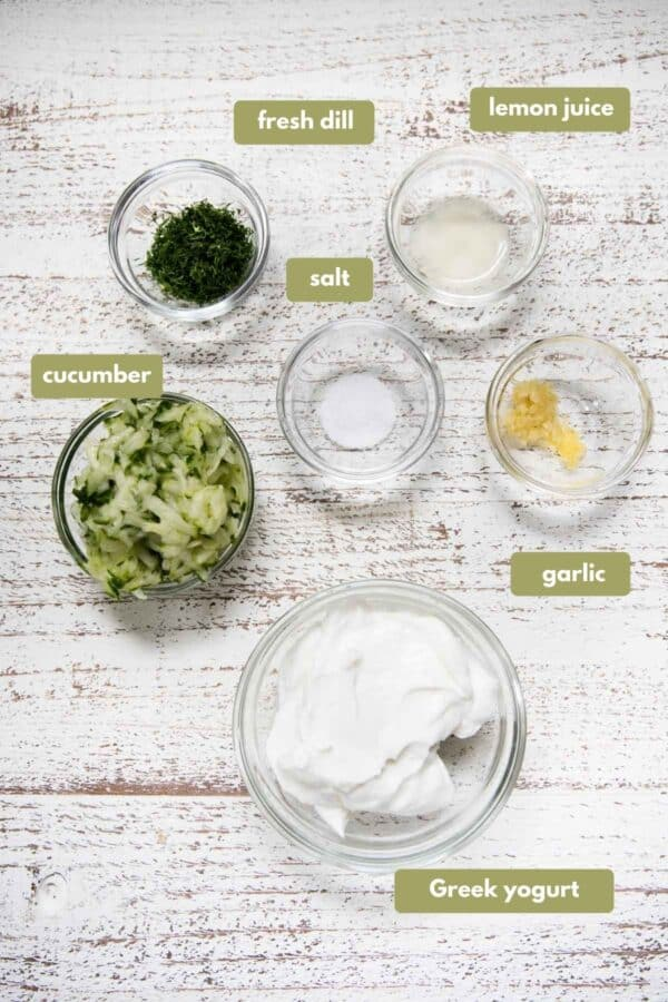 labeled ingredients for tzatziki sauce