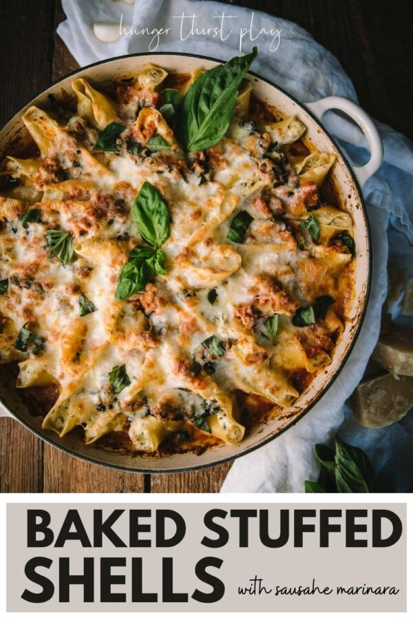 ricotta filled shell pasta baked with cheese and sausage marinara
