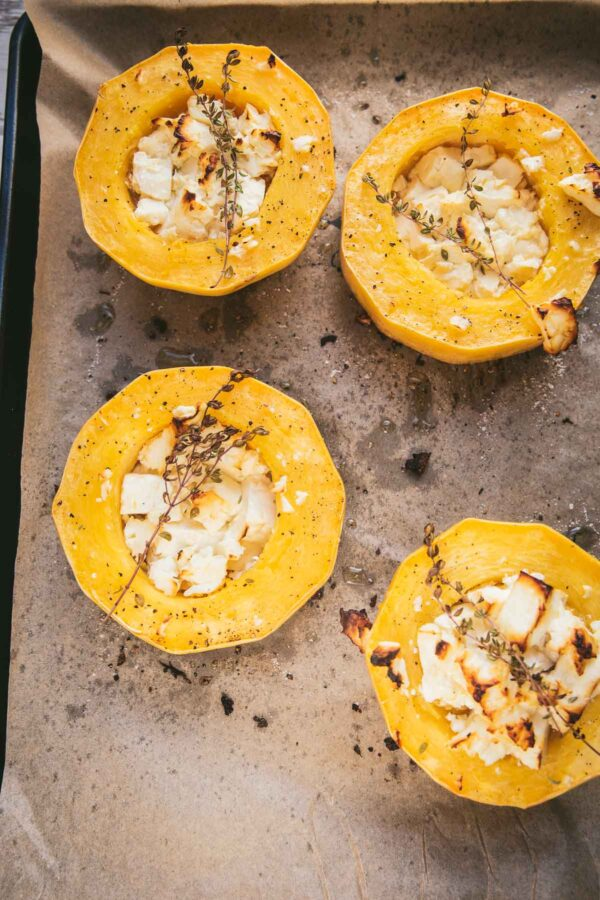 roasted squash in a sheet tray