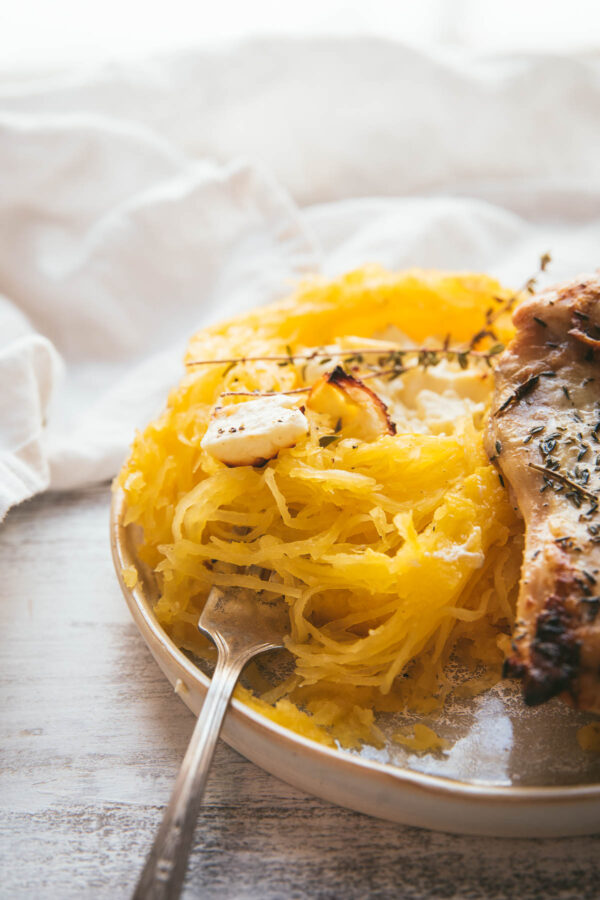 baked spaghetti squash with feta served with chicken