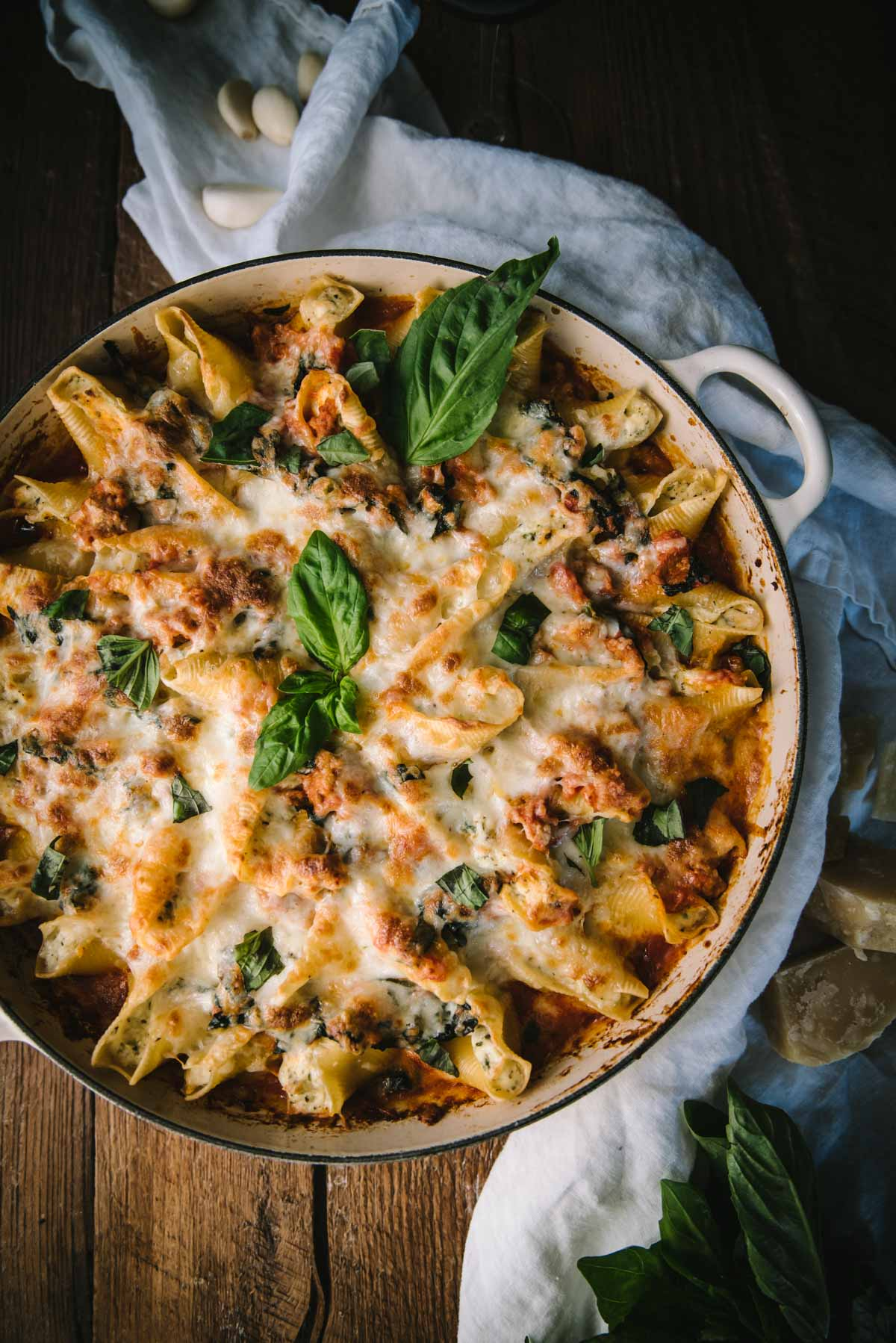 baked stuffed shells in a large braiser