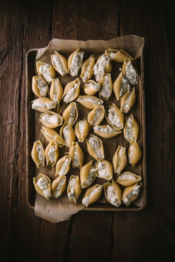 stuffed shells on a tray