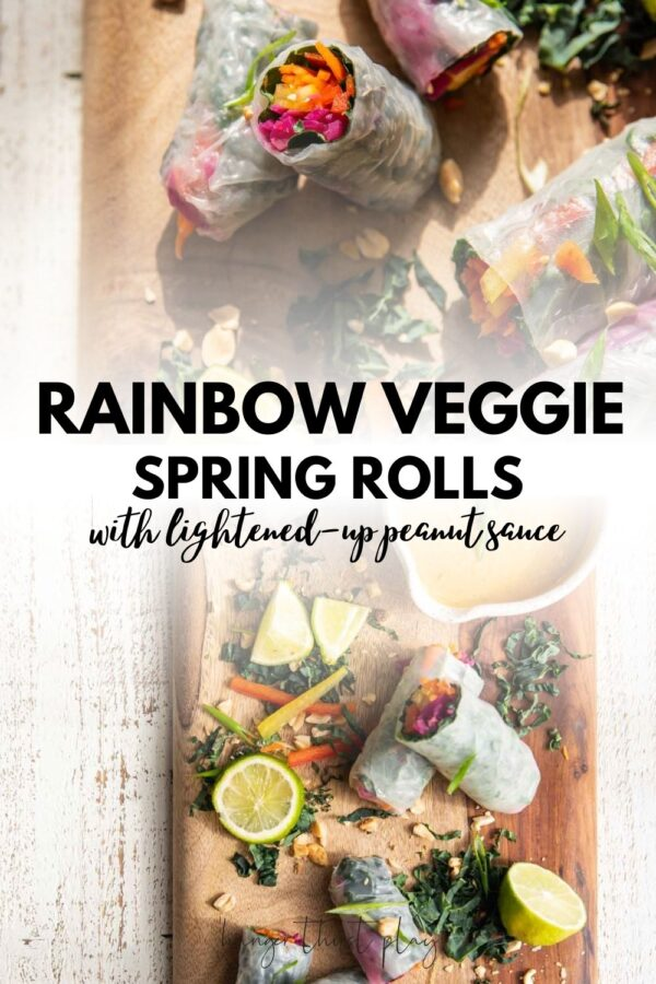 collage of cut rice paper rolls stuffed with veggies