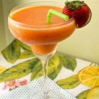 frozen strawberry mango marggarita in a glass