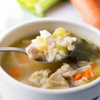 chicken and rice soup in a bowl