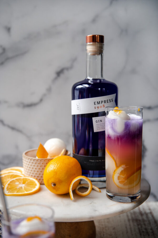 gin float next to a bottle of empress gin