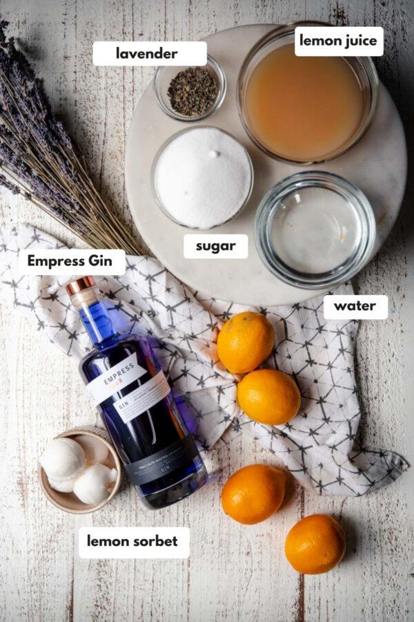 labeled ingredients for lavender lemonade floats