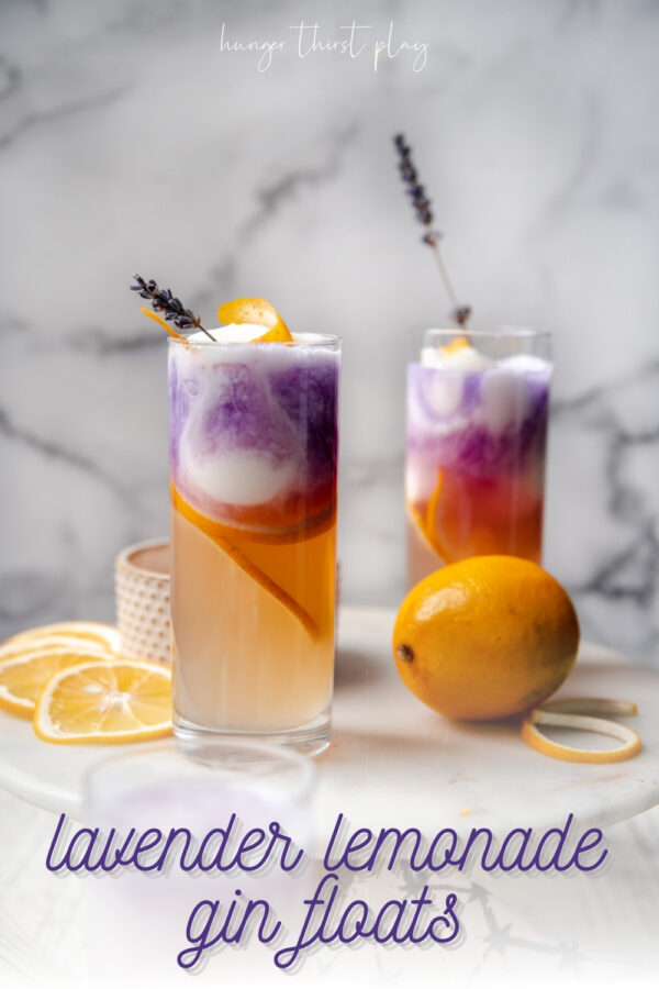 glasses layered with lemonade, sorbet, and empress gin