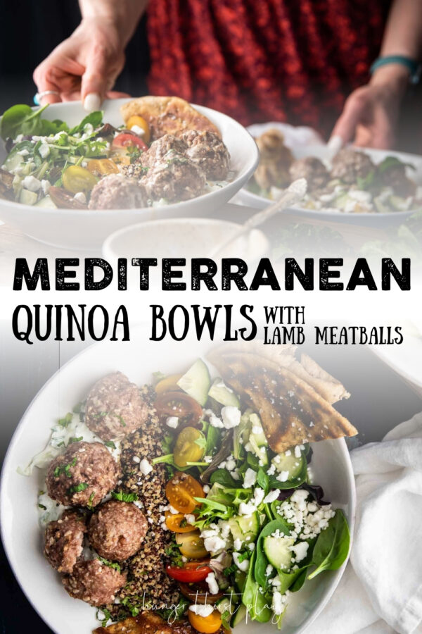 collage of quinoa bowl images with mediterranean ingredients