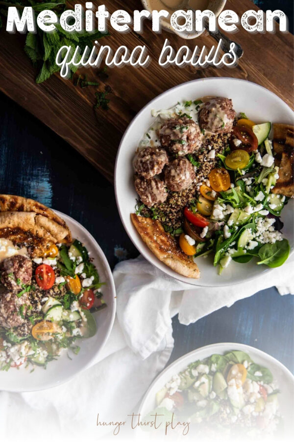overhead of quinoa and greens bowl with lamb meatballs