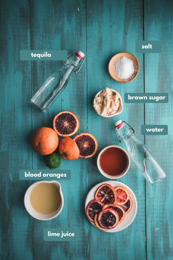 labeled ingredients for blood orange margaritas