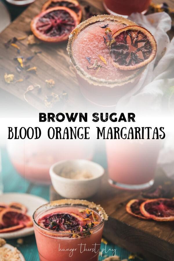 collage of frozen blood orange margarita photos