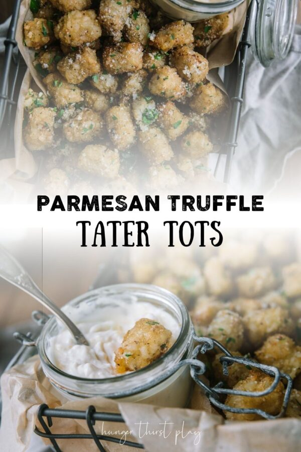 collage of truffle tater tot phots