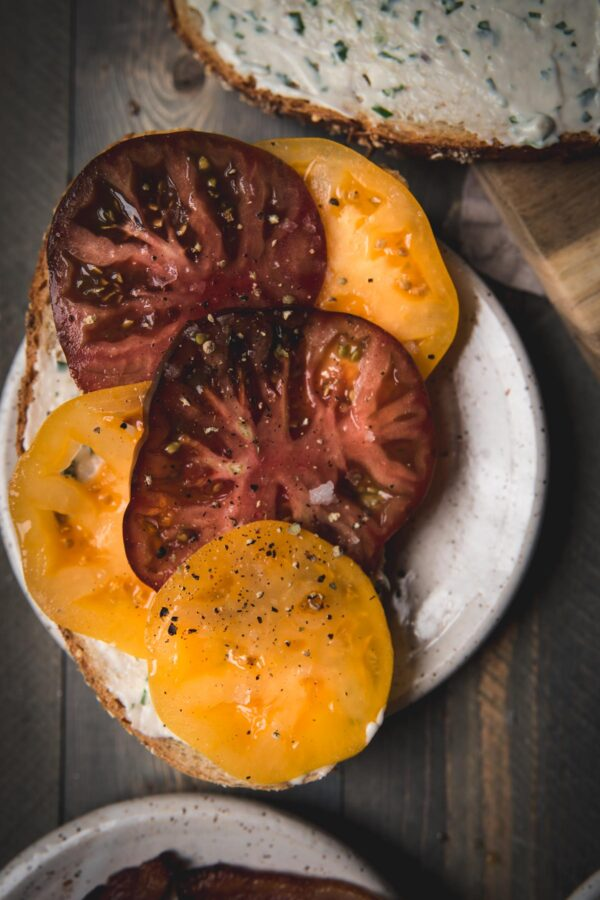 sliced of heirloom tomato on a plate