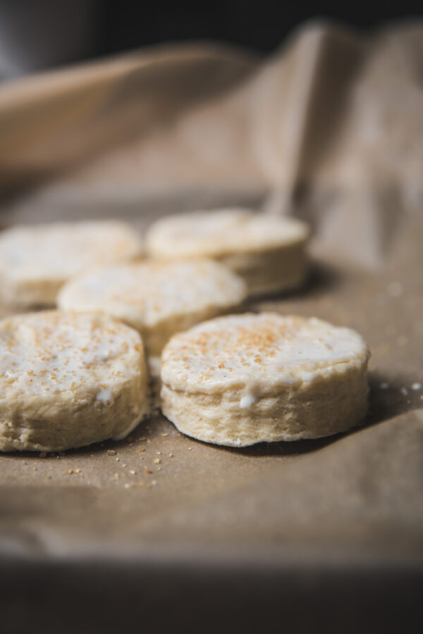 side angle of layers of uncooked biscuits