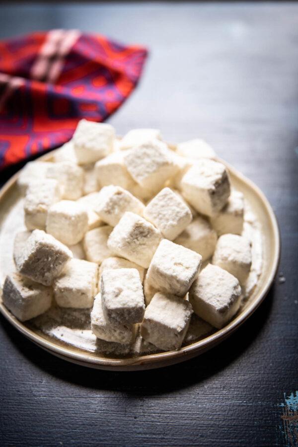 Tofu pieces coated with cornstarch