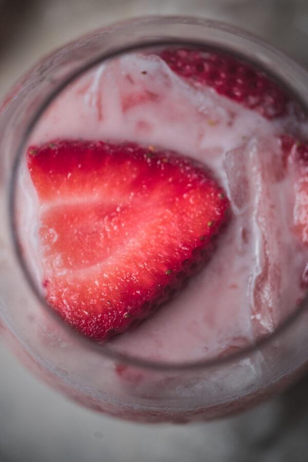 close up of sliced strawberry garnish