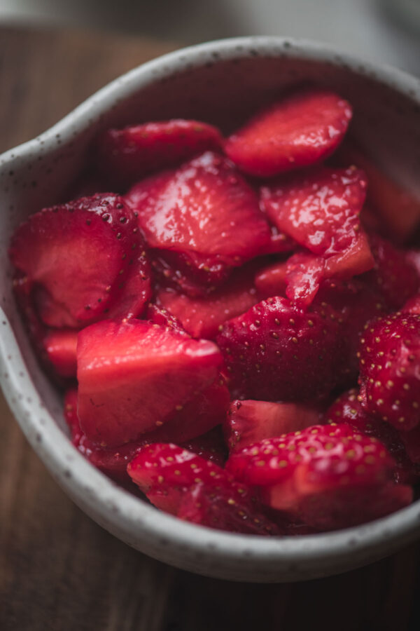 close up of sliced strawberries