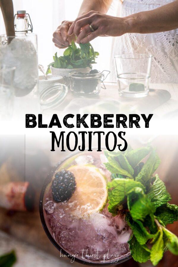 collage of blackberry mojito photos