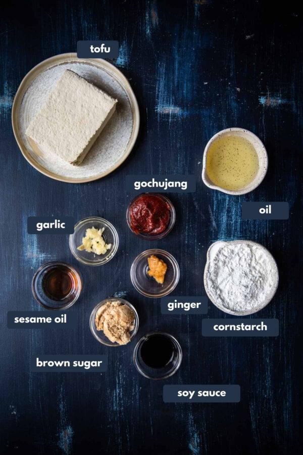 labeled ingredients for Korean Fried Tofu