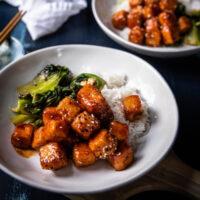 fried tofu with gochujang glaze over rice