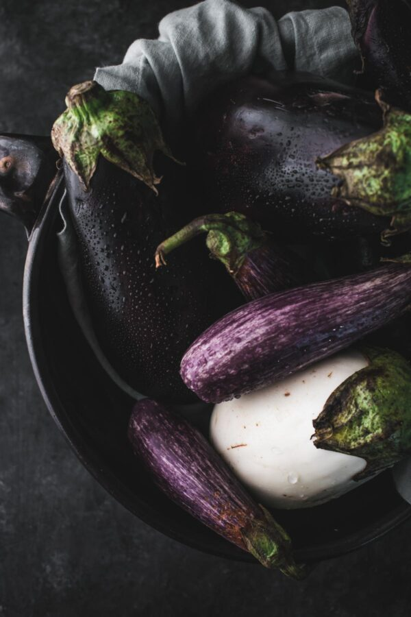 different varieties of eggplant in a bowl
