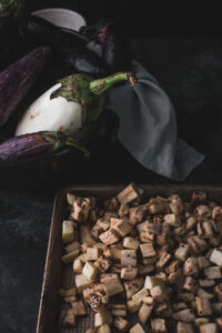 pressed diced eggplant on a sheet tray