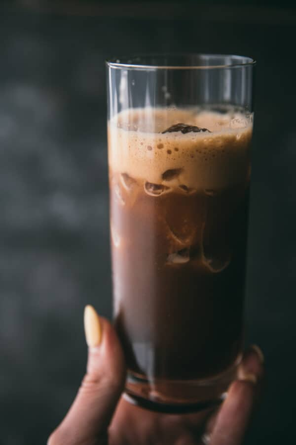close up of espresso with ice in a glass