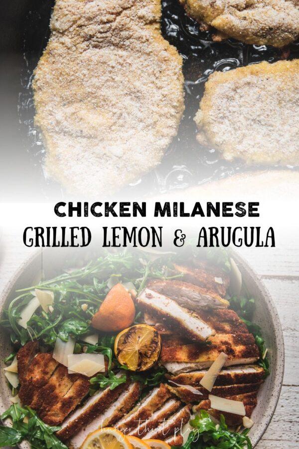 collage of chicken milanese photos