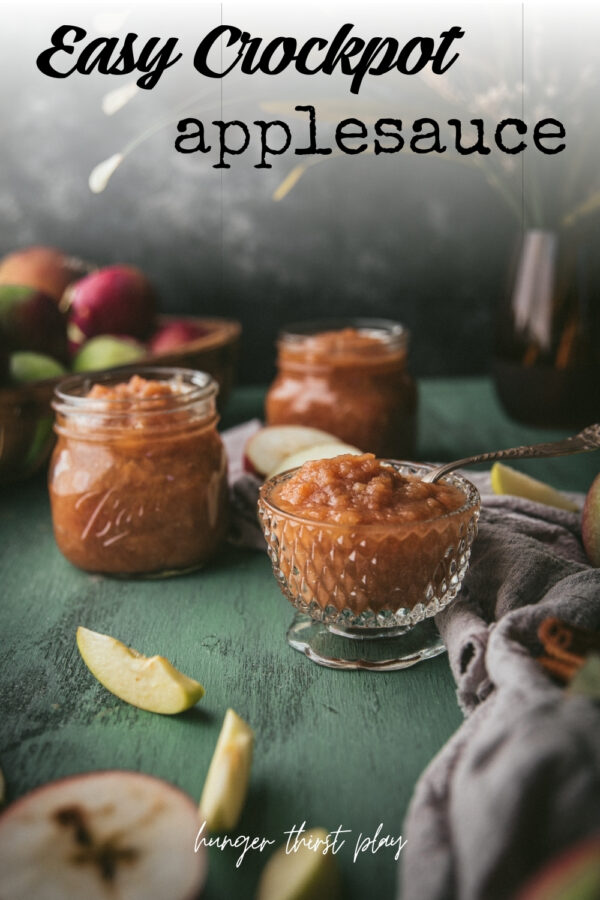 side angle of apple sauce stored in glass jars