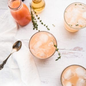 overhead of grapefruit gin cocktail