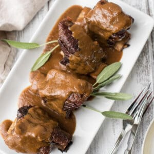 guinness braised short ribs on a plate