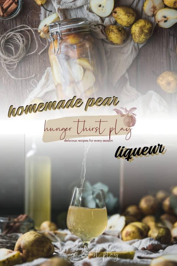 collage of pear liqueur photos