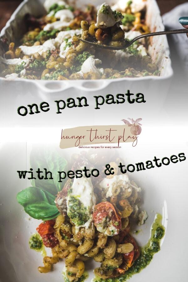 collage of pesto pasta photos